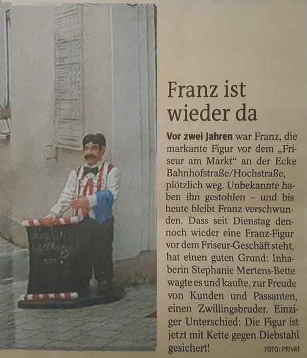 Aktion Zeitungsauschnitt Franz 600X700
